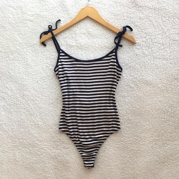NWT Brandy Melville sample stripe tie bodysuit 222bed7ae